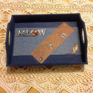 Meow, kitty cat tray, decor, hand-painted